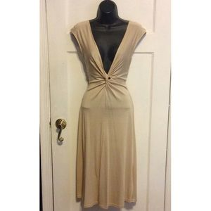 In The New Dresses - In the New Nude Silk Knot Plunge Front Dress
